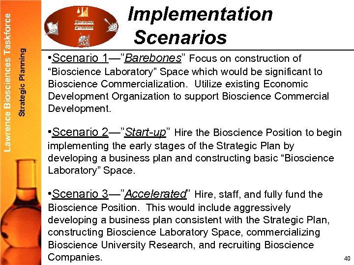 "Strategic Planning Lawrence Biosciences Taskforce Strategic Planning Implementation Scenarios • Scenario 1—""Barebones"" Focus on"