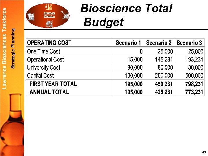 Strategic Planning Lawrence Biosciences Taskforce Strategic Planning Bioscience Total Budget 43