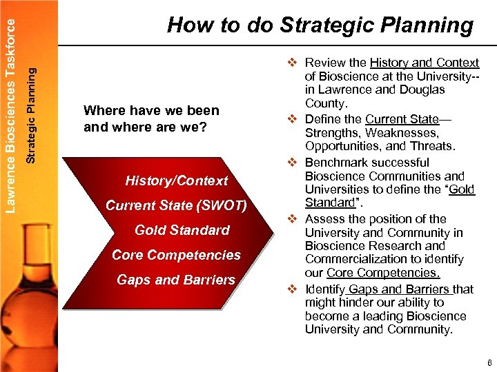 Strategic Planning Lawrence Biosciences Taskforce How to do Strategic Planning Where have we been