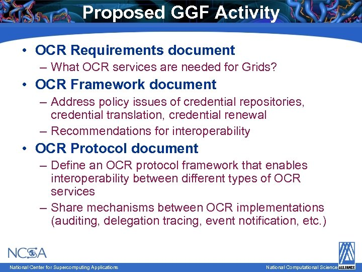 Proposed GGF Activity • OCR Requirements document – What OCR services are needed for