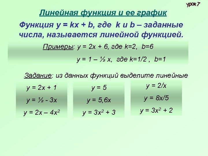 Линейная функция и ее график Функция у = kх + b, где k и