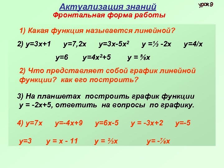 Актуализация знаний Фронтальная форма работы 1) Какая функция называется линейной? 2) у=3 х+1 у=7,