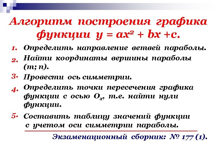 Алгоритм построения графика функции у = ах2 + bх +с. 1. Определить направление ветвей