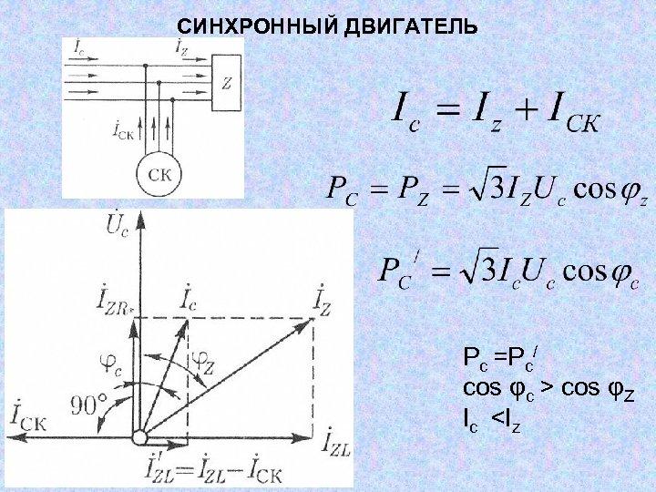 СИНХРОННЫЙ ДВИГАТЕЛЬ Рс =Рс/ cos φс > cos φZ Ic <Iz