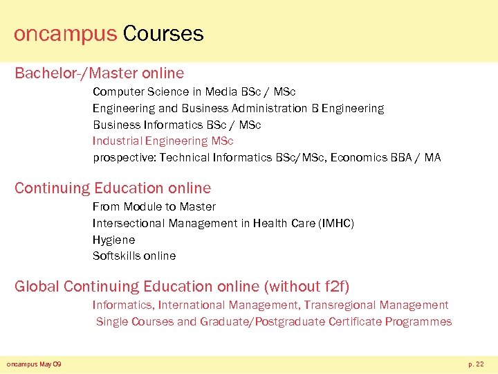 oncampus Courses Bachelor-/Master online Computer Science in Media BSc / MSc Engineering and Business
