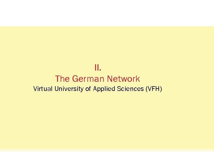 Status Quo: Das Netzwerkvisual. II. The German Network Virtual University of Applied Sciences (VFH)