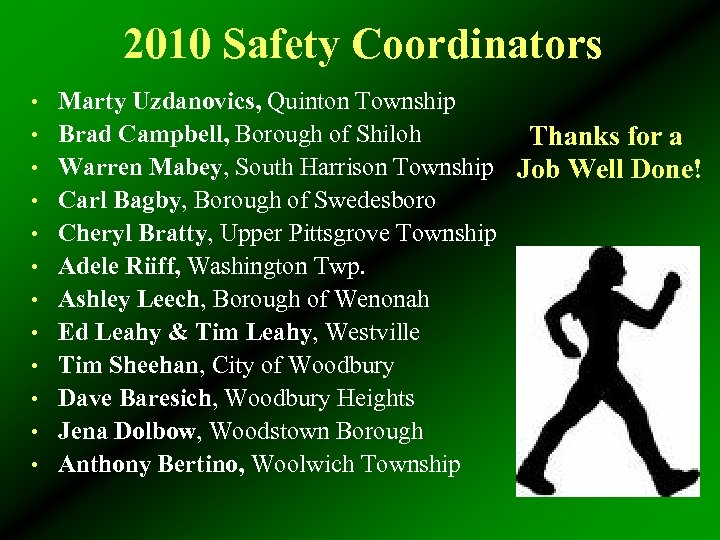 2010 Safety Coordinators • Marty Uzdanovics, Quinton Township Thanks for a Warren Mabey, South