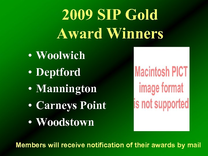 2009 SIP Gold Award Winners • • • Woolwich Deptford Mannington Carneys Point Woodstown