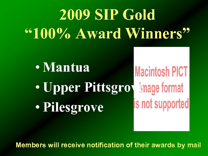 "2009 SIP Gold "" 100% Award Winners"" • Mantua • Upper Pittsgrove • Pilesgrove"