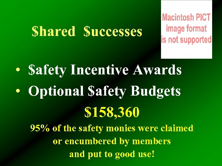 $hared $uccesses • $afety Incentive Awards • Optional $afety Budgets $158, 360 95% of