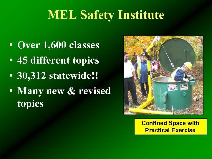 MEL Safety Institute • • Over 1, 600 classes 45 different topics 30, 312
