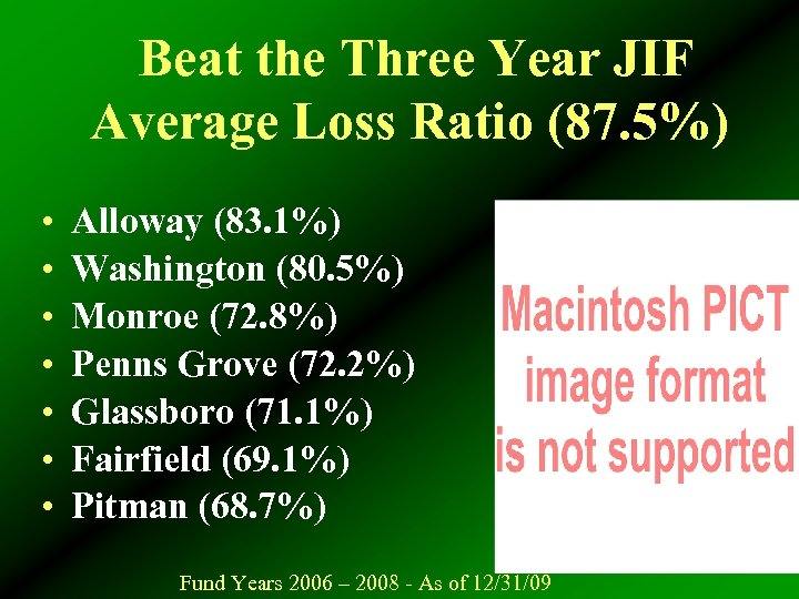 Beat the Three Year JIF Average Loss Ratio (87. 5%) • • Alloway (83.