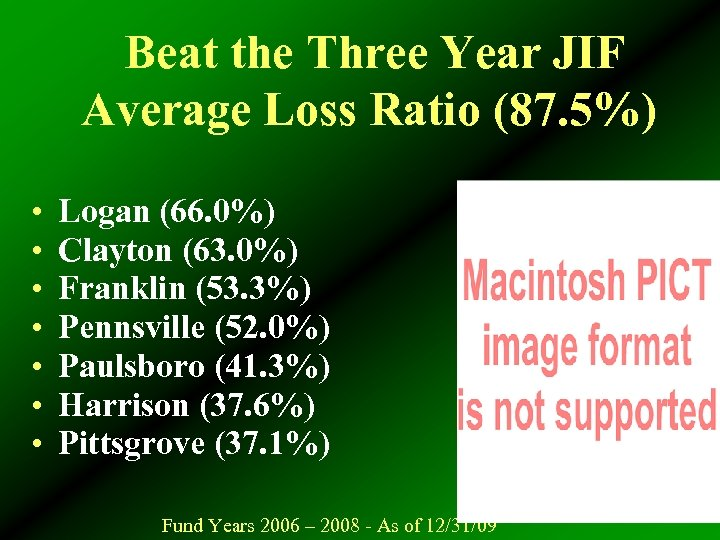 Beat the Three Year JIF Average Loss Ratio (87. 5%) • • Logan (66.