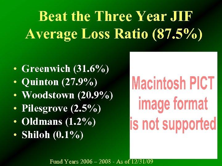Beat the Three Year JIF Average Loss Ratio (87. 5%) • • • Greenwich
