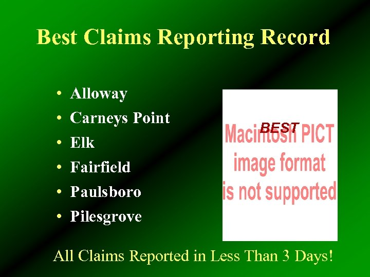 Best Claims Reporting Record • • • Alloway Carneys Point Elk Fairfield Paulsboro Pilesgrove