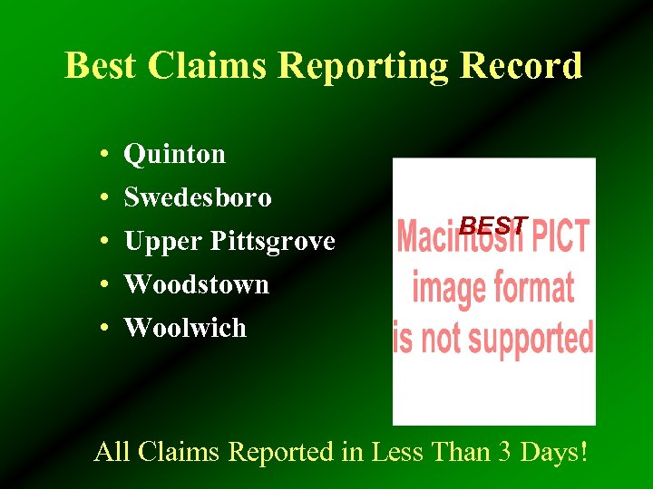 Best Claims Reporting Record • • • Quinton Swedesboro Upper Pittsgrove Woodstown Woolwich BEST