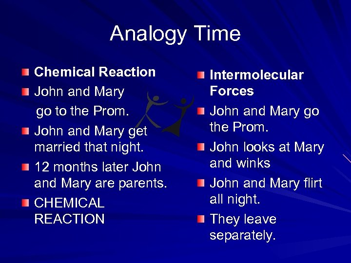 Analogy Time Chemical Reaction John and Mary go to the Prom. John and Mary