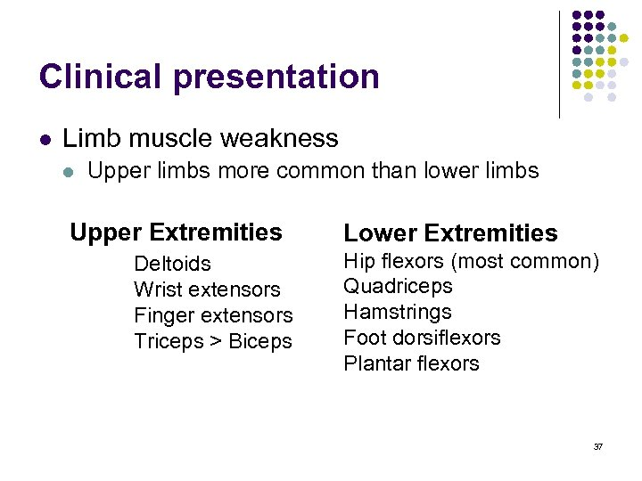 Clinical presentation l Limb muscle weakness l Upper limbs more common than lower limbs