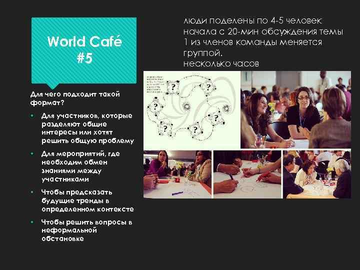 World Café #5 Для чего подходит такой формат? • Для участников, которые разделяют общие