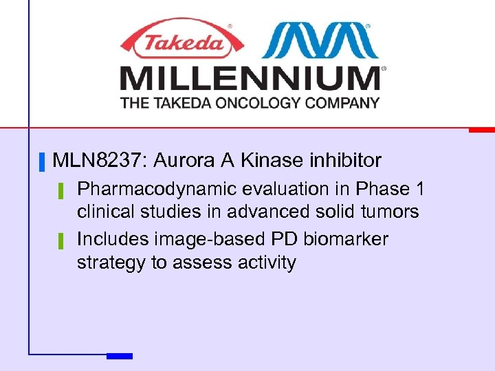 ▐ MLN 8237: Aurora A Kinase inhibitor ▌ ▌ Pharmacodynamic evaluation in Phase 1