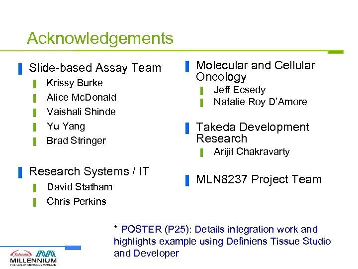Acknowledgements ▐ Slide-based Assay Team ▌ ▌ ▌ Krissy Burke Alice Mc. Donald Vaishali
