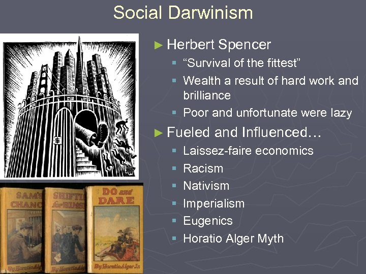"Social Darwinism ► Herbert Spencer § ""Survival of the fittest"" § Wealth a result"