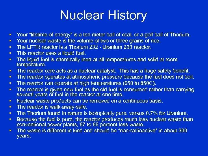 """Nuclear History § § § § Your """"lifetime of energy"""" is a ten meter"""