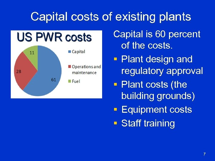 Capital costs of existing plants Capital is 60 percent of the costs. § Plant