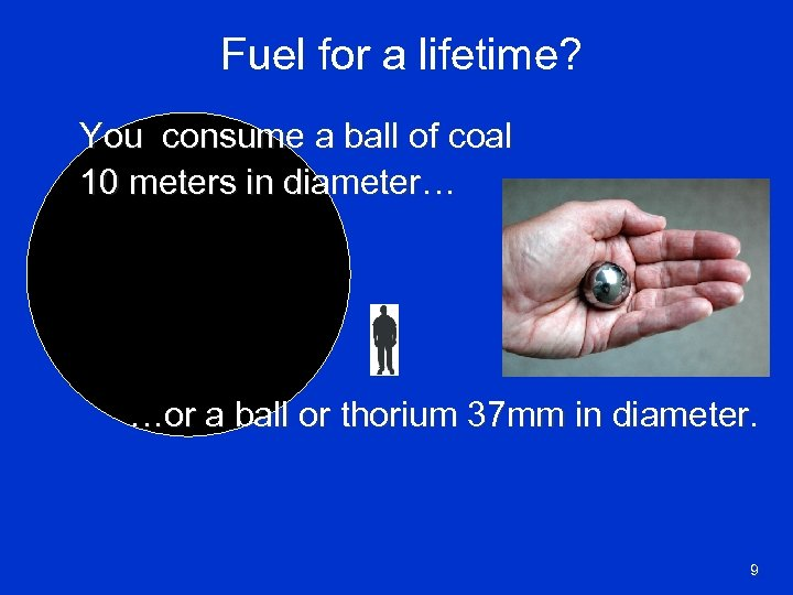 Fuel for a lifetime? You consume a ball of coal 10 meters in diameter…