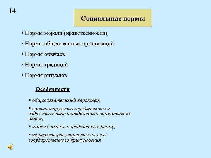 14 Социальные нормы • Нормы морали (нравственности) • Нормы общественных организаций • Нормы обычаев