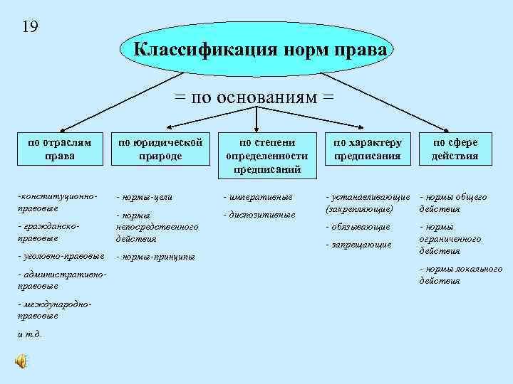 19 Классификация норм права = по основаниям = по отраслям права по юридической природе