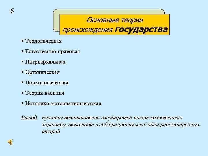 6 Основные теории происхождения государства § Теологическая § Естественно-правовая § Патриархальная § Органическая §