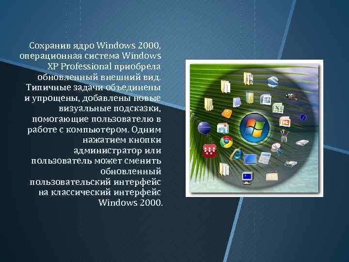 Сохранив ядро Windows 2000, операционная система Windows XP Professional приобрела обновленный внешний вид. Типичные