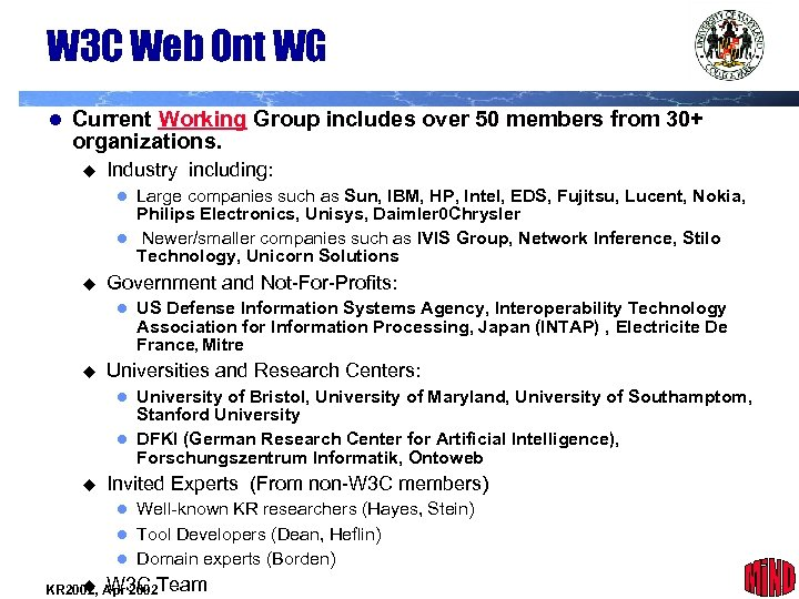 W 3 C Web Ont WG l Current Working Group includes over 50 members