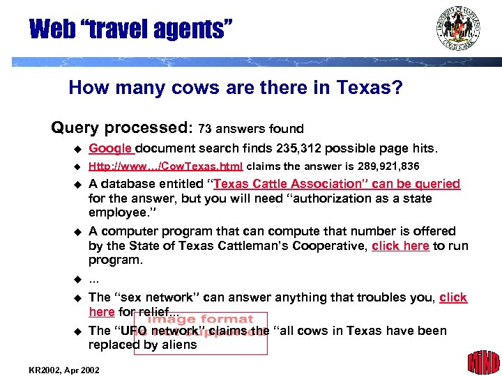 """Web """"travel agents"""" How many cows are there in Texas? Query processed: 73 answers"""
