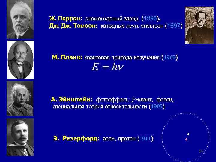 Ж. Перрен: элементарный заряд (1895), Дж. Томсон: катодные лучи, электрон (1897) М. Планк: квантовая