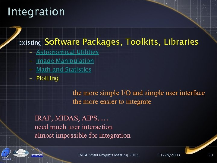 Integration existing – – Software Packages, Toolkits, Libraries Astronomical Utilities Image Manipulation Math and
