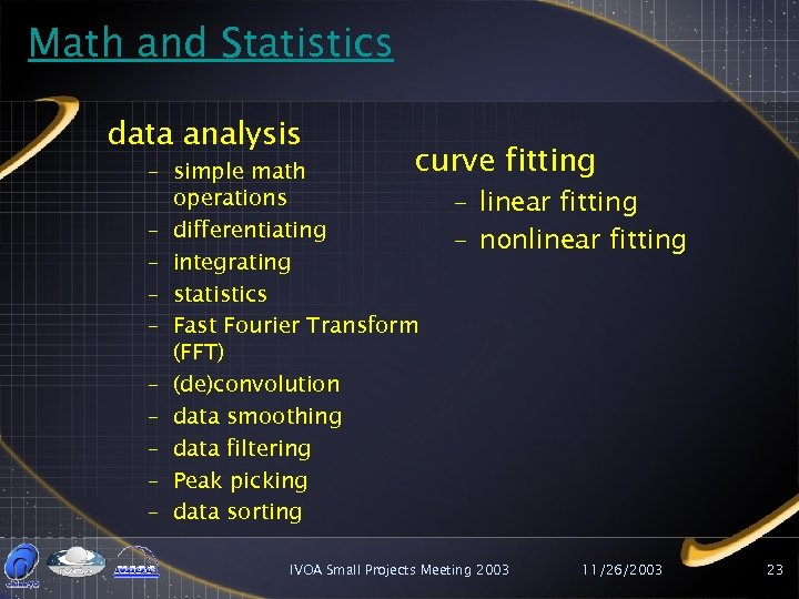 Math and Statistics data analysis curve fitting – simple math operations – linear fitting
