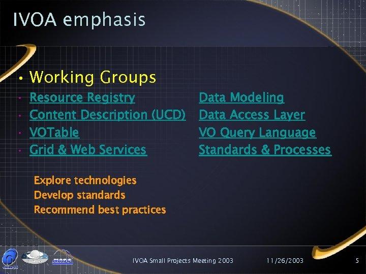 IVOA emphasis • Working Groups • • Resource Registry Content Description (UCD) VOTable Grid