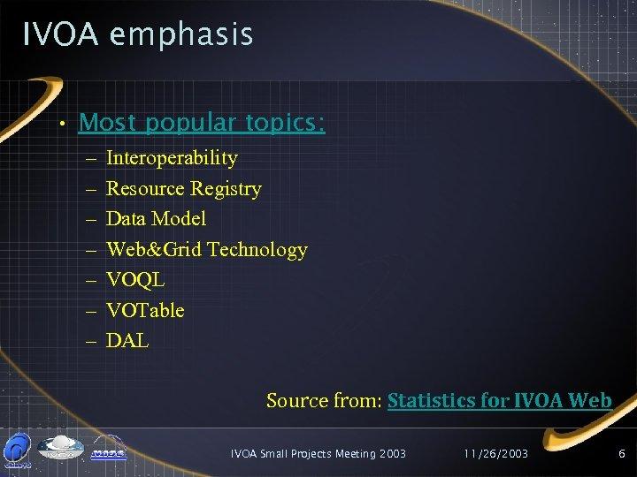 IVOA emphasis • Most popular topics: – – – – Interoperability Resource Registry Data