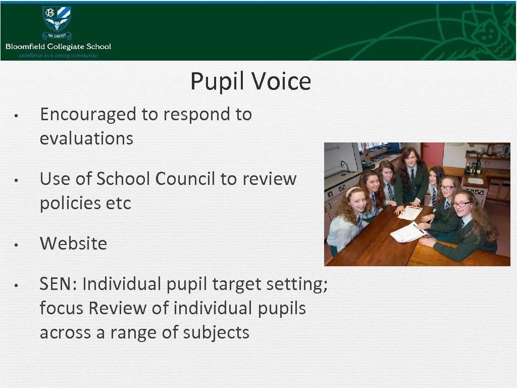 Pupil Voice • • Encouraged to respond to evaluations Use of School Council to
