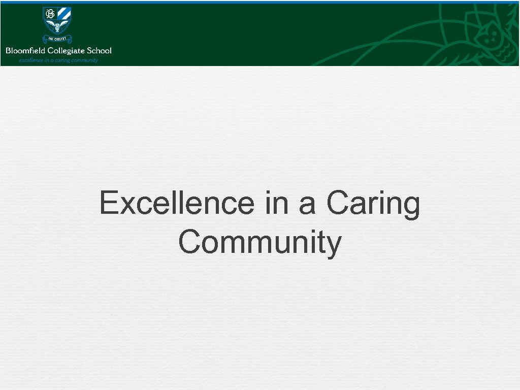 Excellence in a Caring Community