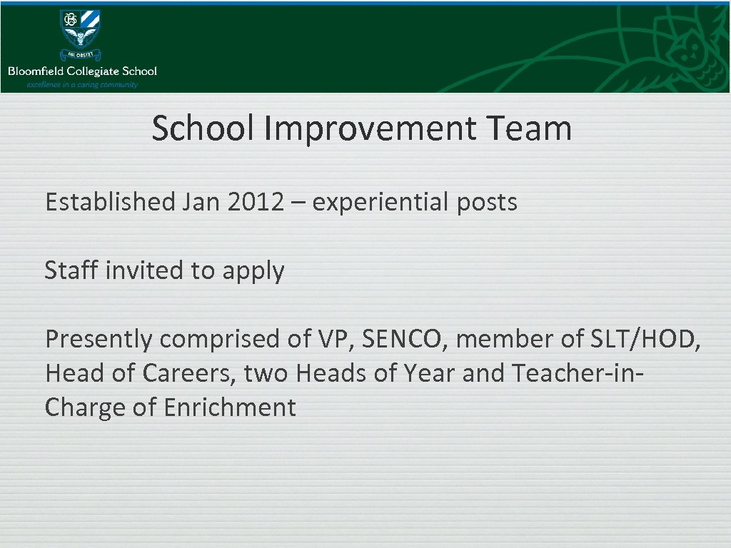School Improvement Team Established Jan 2012 – experiential posts Staff invited to apply Presently