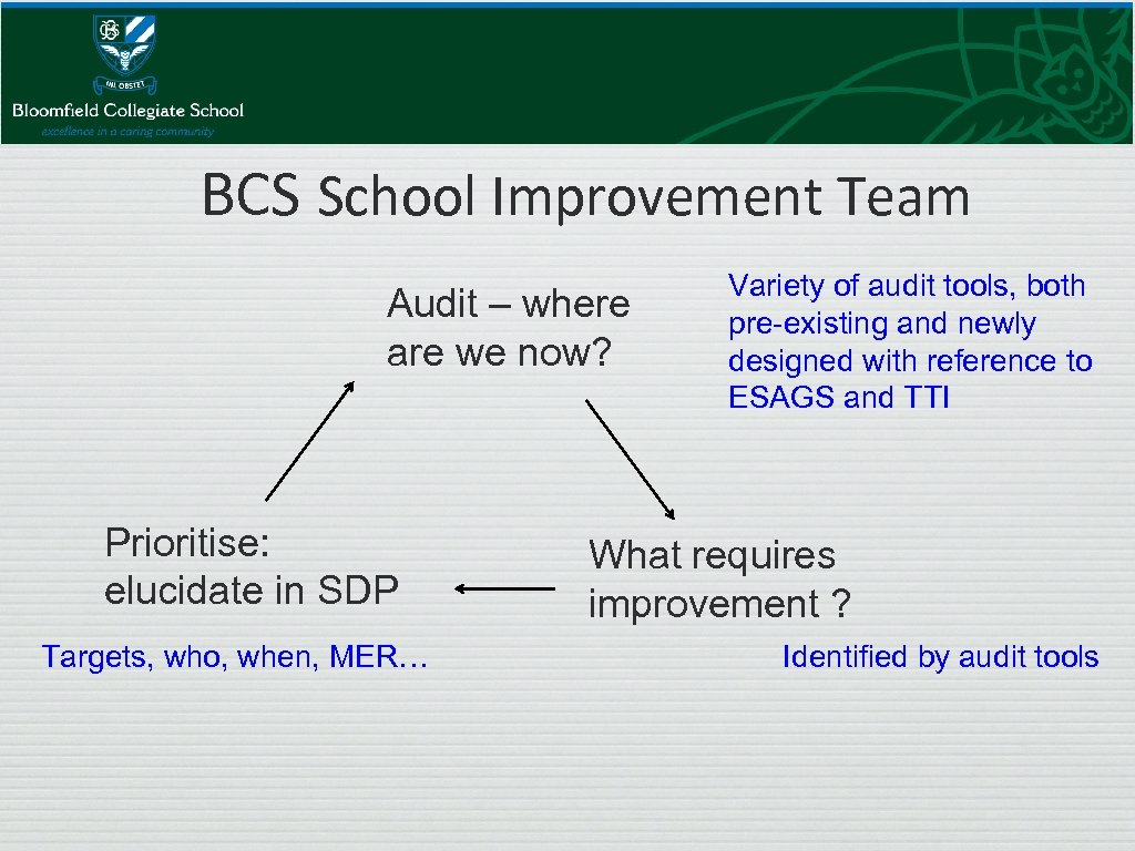 BCS School Improvement Team Audit – where are we now? Prioritise: elucidate in SDP
