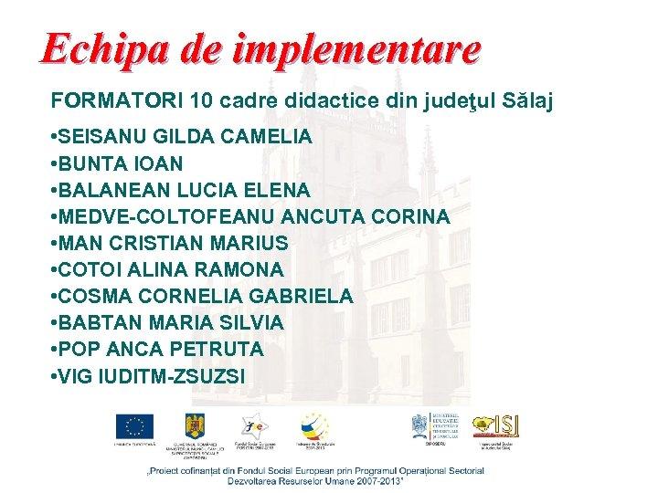 Echipa de implementare FORMATORI 10 cadre didactice din judeţul Sălaj • SEISANU GILDA CAMELIA