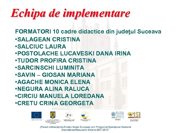 Echipa de implementare FORMATORI 10 cadre didactice din judeţul Suceava • SALAGEAN CRISTINA •