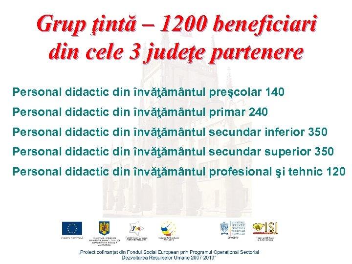 Grup ţintă – 1200 beneficiari din cele 3 judeţe partenere Personal didactic din învăţământul