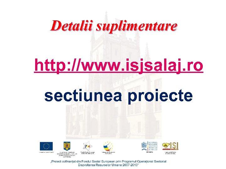 Detalii suplimentare http: //www. isjsalaj. ro sectiunea proiecte