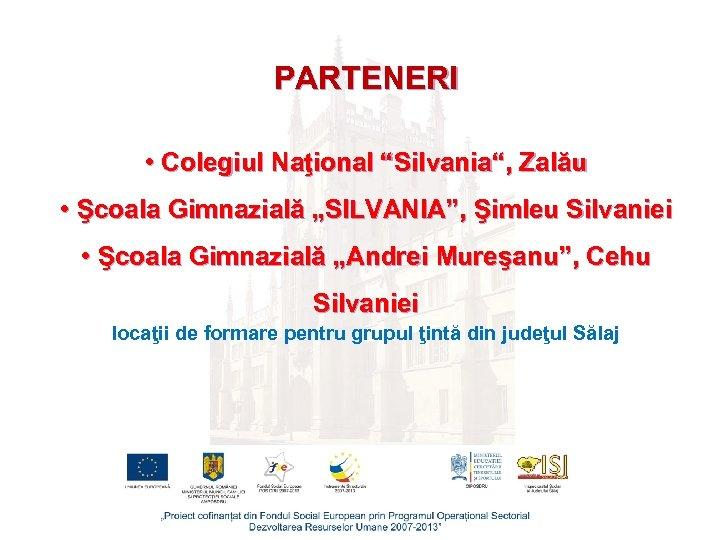 """PARTENERI • Colegiul Naţional """"Silvania"""", Zalău • Şcoala Gimnazială """"SILVANIA"""", Şimleu Silvaniei • Şcoala"""