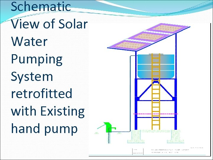 Schematic View of Solar Water Pumping System retrofitted with Existing hand pump